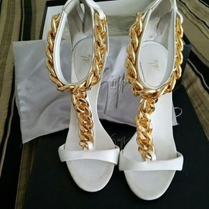 Giuseppe Zanotti White T Strap Shoes with gold cha